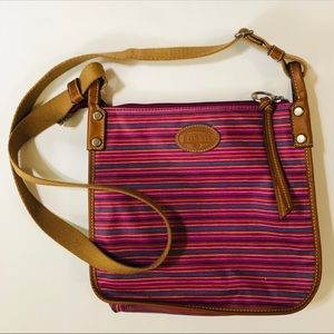Fossil Pink Striped Crossbody Bag